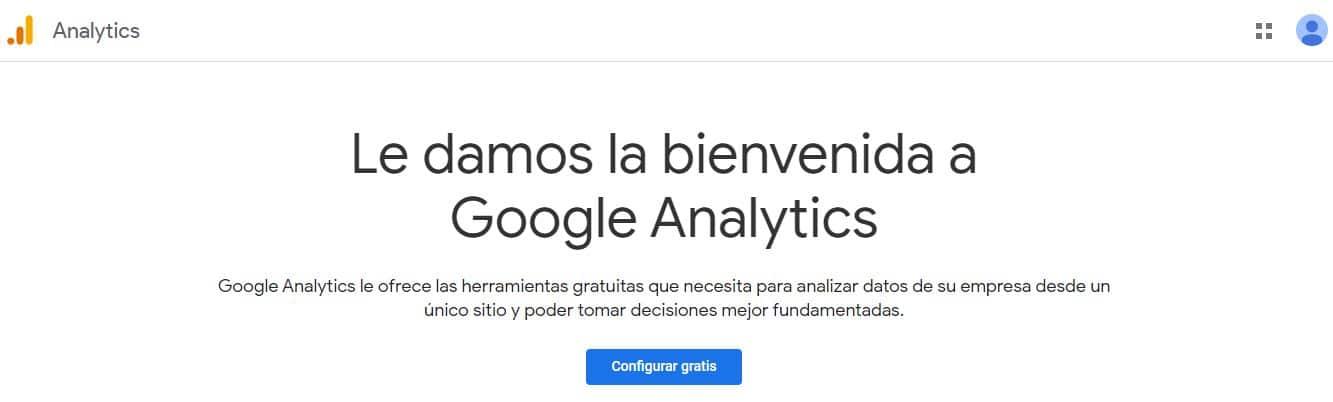 Pagina de bienvenida google analytics