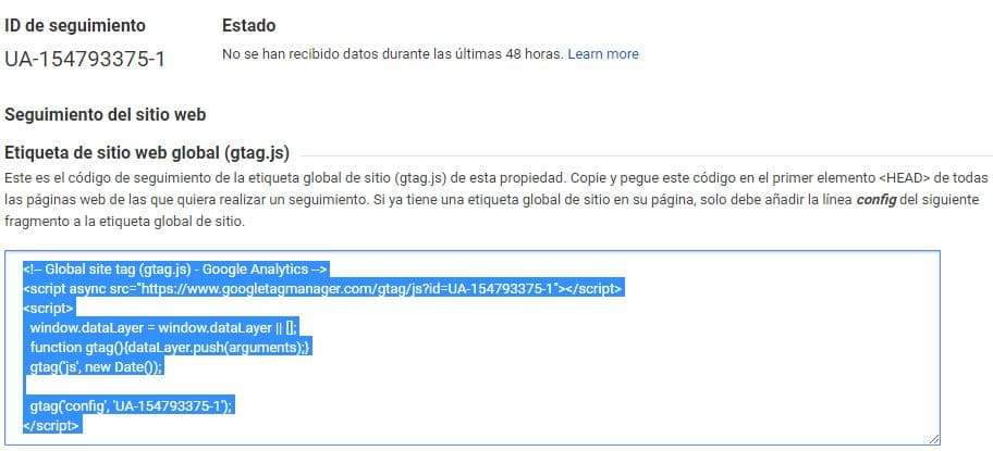 insertar codigo de google analytics